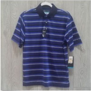 PGA Tour Polo Shirt Blue Stripe Small